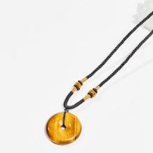 Dây chuyền phong thủy đá mắt hổ mặt đồng điếu 3.3cm mệnh thổ, kim - Ngọc Quý Gemstones