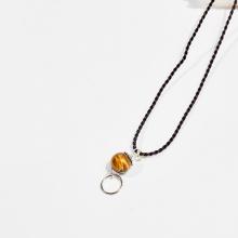 Dây chuyền phong thủy đá mắt hổ vàng nâu 1.5cm mệnh thổ, kim - Ngọc Quý Gemstones