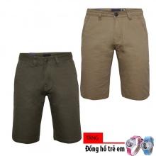Combo 2 quần short kaki nam chuẩn men cao cấp Gabo Fahion tặng kèm 1 đồng hồ trẻ em MSK001