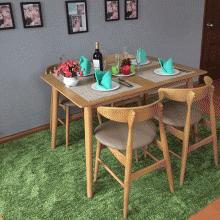 Bộ bàn ăn 4 ghế Lunar màu tự nhiên - Cozino