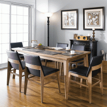 Bộ bàn ăn 6 ghế Kudo gỗ cao su màu walnut - Cozino
