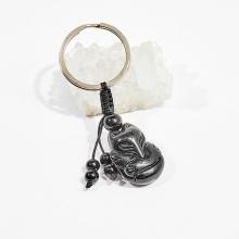 Móc khóa phong thủy đá obsidian hồ ly 3cm mệnh thủy, mộc - Ngọc Quý Gemstones