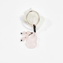 Móc khóa phong thủy đá thạch anh hồng hồ ly 2.5cm mệnh hỏa, thổ - Ngọc Quý Gemstones