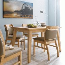 Bộ bàn ăn 4 ghế Ashley gỗ cao su màu tự nhiên - Cozino