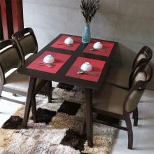 Bộ bàn ăn 6 ghế mặt nệm Ashley màu walnut - Cozino