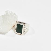 Nhẫn bạc nam đá ngọc bích mệnh hỏa, mộc - Ngọc Quý Gemstones