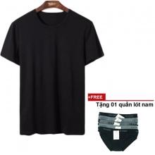 Áo thun nam cổ tròn đa dạng phong cách dokafashion (áo đen, tặng 1 quần lót nam)