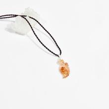 Dây chuyền phong thủy đá thạch anh tóc cam hồ ly 9 đuôi ôm mẫu đơn 2.8cm mệnh hỏa, thổ - Ngọc Quý Gemstones