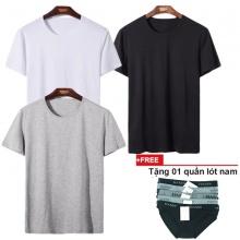 Áo thun nam cổ tròn đa dạng phong cách, combo 3 áo xám, đen, trắng tặng 1 quần lót nam