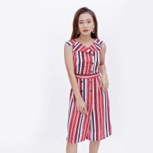 Đầm suông cổ danton thời trang Eden kẻ sọc màu đỏ - D373