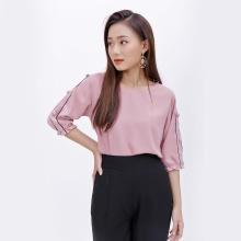 Áo công sở thời trang Eden phom rộng tay lửng màu hồng ruốc - ASM043