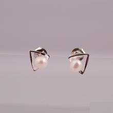 Opal - hoa tai bạc đính ngọc trai trẻ trung - HT 07