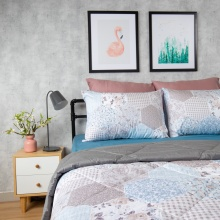 Bộ chăn drap cotton satin Hàn Quốc 5 món Pattern Lover 05 1m8x2m