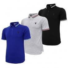 Bộ 3 áo thun nam cổ bẻ logo ép 3D chuẩn phong độ Pigofashion AHT16 đen, xám, xanh bích