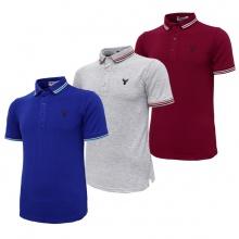Bộ 3 áo thun nam cổ bẻ logo ép 3D chuẩn phong độ Pigofashion AHT16 đỏ, xám, xanh bích