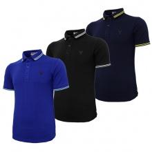 Bộ 3 áo thun nam cổ bẻ logo ép 3D chuẩn phong độ Pigofashion AHT16 xanh đen, đen, xanh bích
