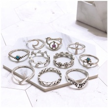 Set 10 nhẫn midi ring flower - Tatiana - NH2391