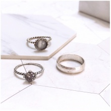 Set 3 nhẫn midi ring black gem - Tatiana - NH2467