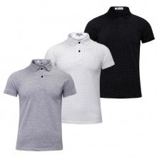 Bộ 3 áo thun nam cổ bẻ chấm bi họa tiết in cao cấp phong cách AHT18 đen, trắng, xám