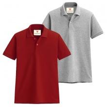 Áo thun nam cổ bẻ vải cá sấu cao cấp dokafashion, combo 2 áo (đỏ tươi, xám lợt)