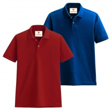 Áo thun nam cổ bẻ vải cá sấu cao cấp dokafashion, combo 2 áo (đỏ tươi, xanh dương)