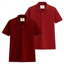 Áo thun nam cổ bẻ vải cá sấu cao cấp dokafashion, combo 2 áo (đỏ đô, đỏ tươi)