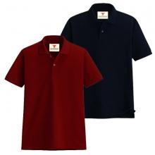 Áo thun nam cổ bẻ vải cá sấu cao cấp dokafashion, combo 2 áo (đỏ đô, đen)