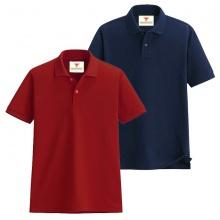 Áo thun nam cổ bẻ vải cá sấu cao cấp dokafashion, combo 2 áo (đỏ tươi, xanh đen)