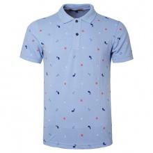 Áo thun nam cổ bẻ họa tiết biển xanh chuẩn mọi phong cách Pigofashion cao cấp AHT20 xanh biển
