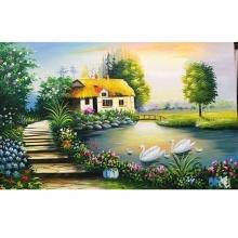 Tranh dán tường sơn dầu cảnh làng quê PC56