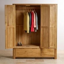 Tủ quần áo Emley 3 cánh 2 ngăn kéo gỗ sồi 1m4 - Cozino