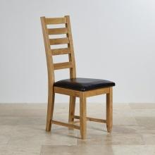 Ghế bàn ăn 100% gỗ sồi Holy bọc simili đen   - Cozino