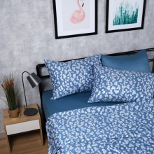 Bộ chăn drap cotton satin Hàn Quốc 5 món Sketchy Leaves 01 1m6x2m