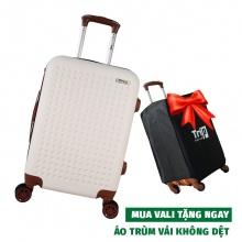 Vali cao cấp Trip P803A Size 60cm màu trắng (tặng 1 áo trùm vali đen)