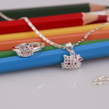 Opal - set dây chuyền bạc và nhẫn Kiity đính đá Ross - T8