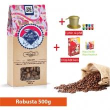 Combo cà phê hạt rang Robusta (500g) + bột kem pha cà phê 170g + 1 phin cà phê cao cấp