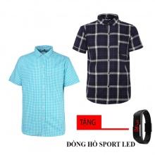 Combo 2 áo sơ mi nam sọc caro Model Fashion cao cấp MSMI8237 (tặng đồng hồ sport led )
