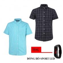 Combo 2 áo sơ mi nam sọc caro Model Fashion cao cấp MSMI8236 (tặng đồng hồ sport led )