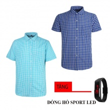 Combo 2 áo sơ mi nam sọc caro Model Fashion cao cấp MSMI8248 (tặng đồng hồ sport led )