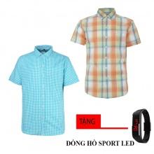 Combo 2 áo sơ mi nam sọc caro Model Fashion cao cấp MSMI8253 (tặng đồng hồ sport led )