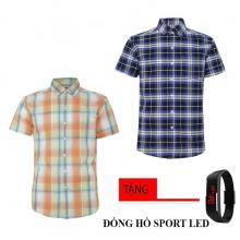 Bộ 2 áo sơ mi ngắn tay sọc caro thời trang tặng kèm đồng hồ Sport Led MSMI8321