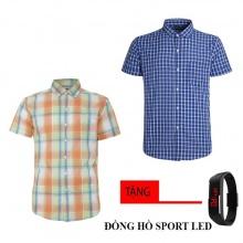 Bộ 2 áo sơ mi ngắn tay sọc caro thời trang tặng kèm đồng hồ Sport Led MSMI8322