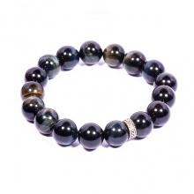 Vòng tay đá mắt hổ xanh 10mm phối charm bạc Thái cao cấp B-TIGG10M01 - VietGemstones