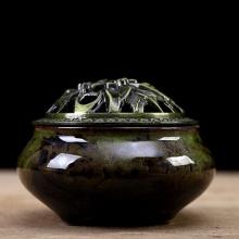 Lư xông trầm hương nắp đồng phối màu - tặng kèm 10 nụ trầm hương - xanh lá cây
