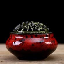 Lư xông trầm hương nắp đồng phối màu - tặng kèm 10 nụ trầm hương - đỏ