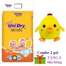(Tặng 1 thú bông con gà) combo 2 gói tã dán Unidry size M42_ size L38_ size XL34