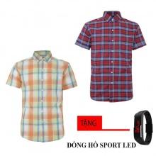Bộ 2 áo sơ mi ngắn tay sọc caro thời trang tặng kèm đồng hồ Sport Led MSMI8325