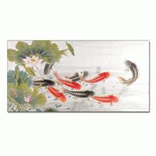 Tranh phong thuỷ cửu ngư quần hội 1T4080-1 có quà tặng kèm-tranh treo phòng khách làm quà tân gia