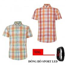 Bộ 2 áo sơ mi ngắn tay sọc caro thời trang tặng kèm đồng hồ Sport Led MSMI8327