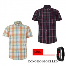 Bộ 2 áo sơ mi ngắn tay sọc caro thời trang tặng kèm đồng hồ Sport Led MSMI1909
